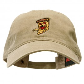 Pizza Monster Embroidered Washed Solid Pigment Dyed Twill Brass Buckle Cap