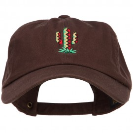 Pattern Cactus Embroidered Unstructured Washed Cap