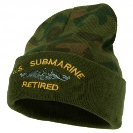 US Submarine Retired Military Embroidered Camo Long Beanie