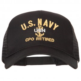 US Navy CPO Retired Military Embroidered Solid Cotton Mesh Pro Cap