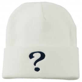 Question Mark Embroidered Long Knit Beanie - White