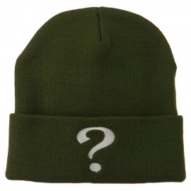 Question Mark Embroidered Long Knit Beanie - Olive