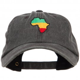 Rasta Africa Map Embroidered Unstructured Cap - Black
