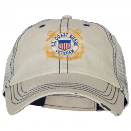 US Coast Guard Anchors Veteran Embroidered Low Profile Cotton Mesh Cap