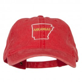 Arkansas with Map Outline Embroidered Washed Cotton Twill Cap