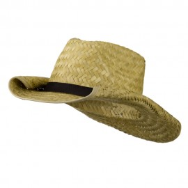 Rolled Brim Straw Cowboy - Tan Black