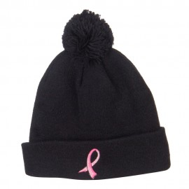 Ribbon Breast Cancer Embroidered Pom Beanie