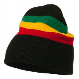 Rasta Center Striped Beanie - Black