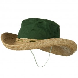 Raffia Brim Canvas Crown Ladies Hat