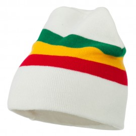 Rasta Center Striped Beanie - White