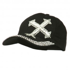 Rhinestone Cross Jeweled Cap - Black