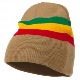 Rasta Center Striped Beanie - Khaki
