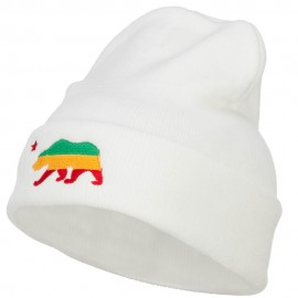 Rasta Cali Bear Embroidered Long Beanie