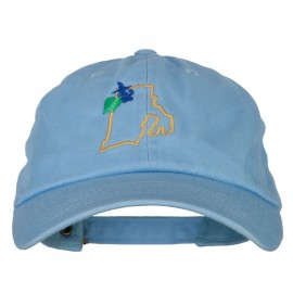 Rhode Island Common Blue Violet with Map Embroidered Unstructured Washed Cap