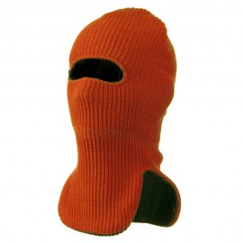 Reversible Double Layer Knit Ski Mask - Orange