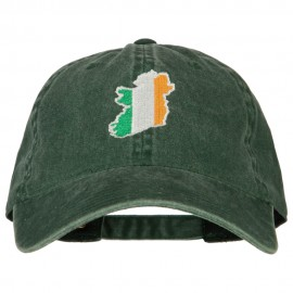 Ireland Flag Map Embroidered Washed Cotton Twill Cap