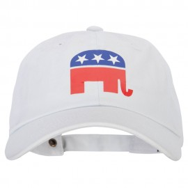 Republican Elephant Symbol Heat Transfer Unstructured Cotton Twill Washed Cap