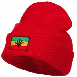Rasta Leaf Flag Embroidered Long Beanie