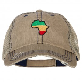 Rasta Africa Map Embroidered Low Profile Cotton Mesh Cap