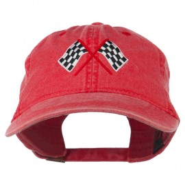 Checkered Racing Flag Embroidered Washed Cap