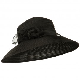 Rose Bow Accent Organza Hat - Black