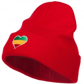 Rasta Heart Embroidered Long Beanie