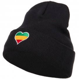 Rasta Heart Embroidered Long Beanie - Black