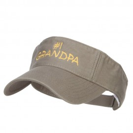 Number 1 Grandpa Embroidered Cotton Washed Visor