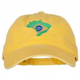 Brazil Flag Map Embroidered Washed Cotton Twill Cap