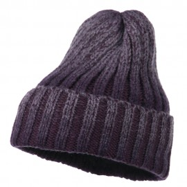 Ribbed Cuff Long Beanie