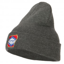Arkansas State Flag Map Embroidered Long Beanie