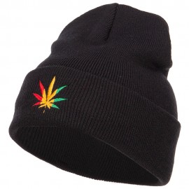 Rasta Leaf Embroidered Long Beanie