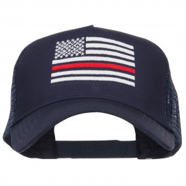 Thin Red Line American Flag Embroidered Mesh Cap
