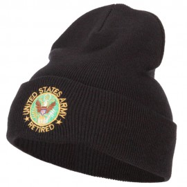 US Army Retired Circle Embroidered Long Knitted Beanie
