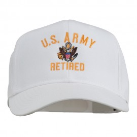 US Army Retired Military Embroidered Cap - White