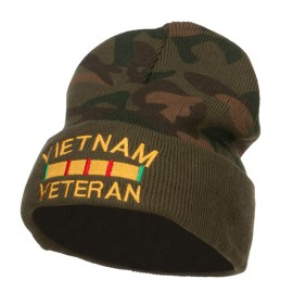 Vietnam Veteran Embroidered Camo Long Beanie