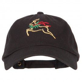 Reindeer Outline Embroidered Unstructured Washed Cap
