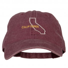 California with Map Outline Embroidered Washed Cotton Twill Cap