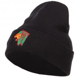 Rasta Lion Head Embroidered Long Beanie