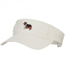 Rough Collie Embroidered Pro Style Cotton Washed Visor