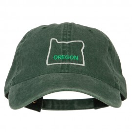 Oregon with Map Outline Embroidered Washed Cotton Twill Cap