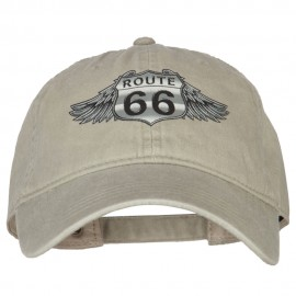 Route 66 Wings Heat Transfers Printed Washed Cotton Twill Cap