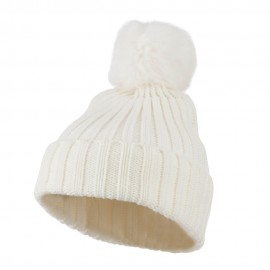 Knit Cuff Beanie with Rabbit Pom - White