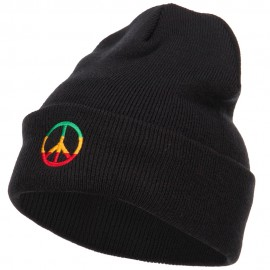 Rasta Peace Symbol Embroidered Long Beanie