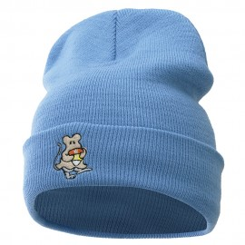 Rat Ghost Embroidered Knitted Long Beanie