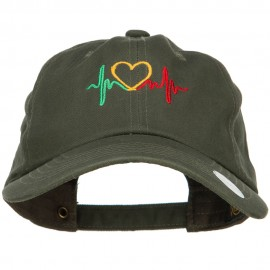 Rasta Heartbeat Embroidered Unstructured Cap