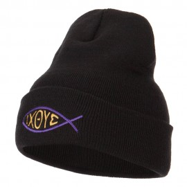Religious Symbol of Christ Embroidered Long Beanie