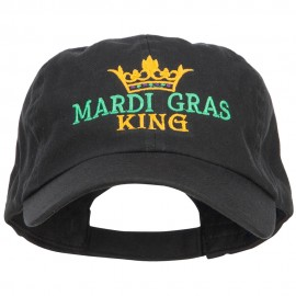 Mardi Gras King with Crown Symbol Embroidered Cotton Cap