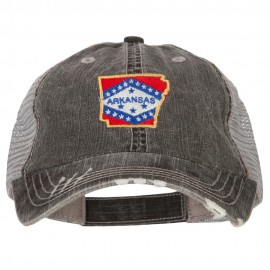 Arkansas State Map Flag Embroidered Low Profile Cotton Mesh Cap