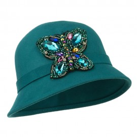 Wool Felt Cloche Hat with Rhinestone Butterfly